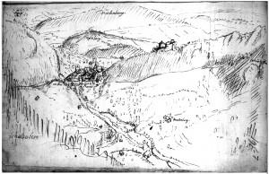 Schloss und Städtchen Waldenburg nach einer Skizze von G.F.Meyer (Staatsarchiv Baselland)