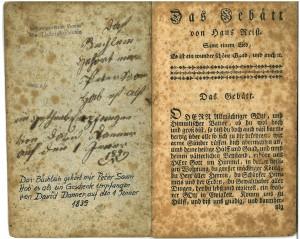 """Exemplar von """"Das Gebätt"""" aus den Beständen der Dokumentationsstelle des Schweizerischen Vereins für Täufergeschichte auf dem Bienenberg"""