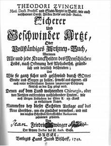 Aufgrund der hohen Anzahl von Täuferinnen und Täufern, welche als Wundärzte, Hebammen und Arzneiproduzenten tätig waren, verwundert es nicht, dass sie dabei auch auf bekannte zeitgenössische Literatur zurückgriffen. Beispiele dafür finden sich auch im Archiv der Konferenz der Mennoniten der Schweiz auf Jeangui / Corgémont. (Abgebildet ist das Titelblatt der 6. Auflage von Theodor Zwinger: Sicherer und Geschwinder Arzt, Basel 1742)