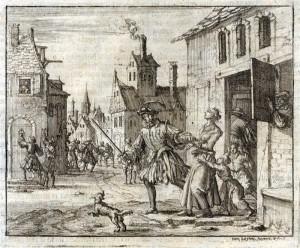 JanLuyken - Zürcher Täuferin wird abgeführt - 1637 - Märtyrerspiegel