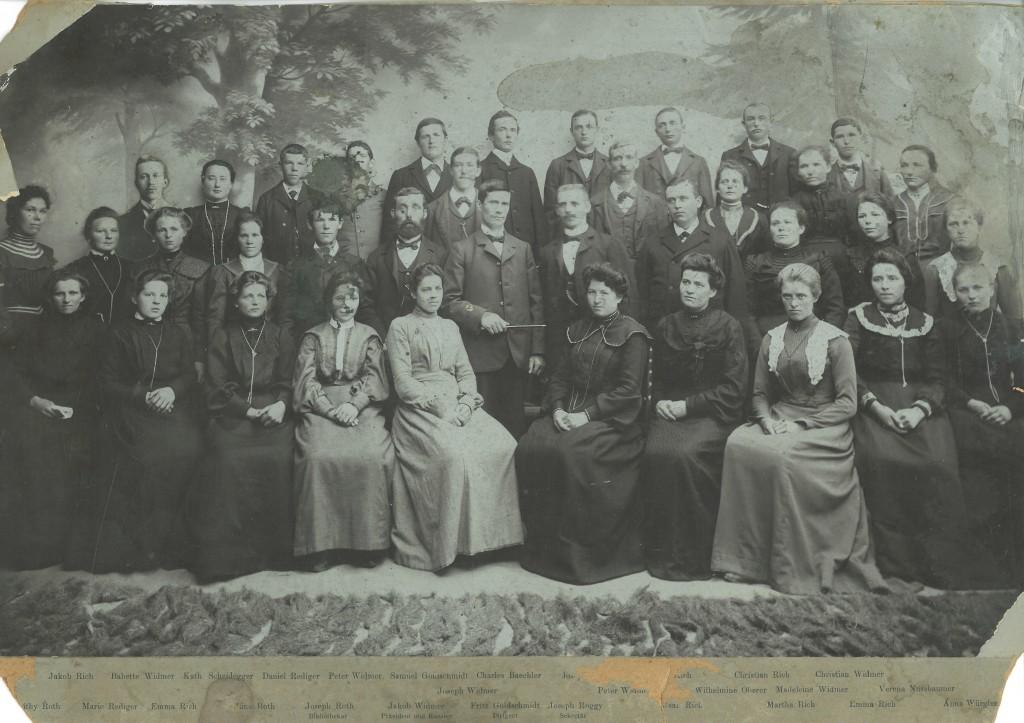 Gesangverein der Mennoniten-Gemeinde Basel-Holee (um 1900) mit Dirigent Fritz Goldschmidt (1874-1960)