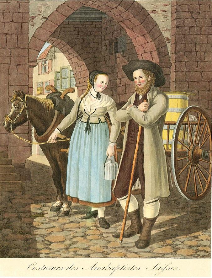 (Kolorierte Radierung von Joseph Reinhard (1749-1829) in: Collection des costumes suisses des XXII cantons, publiés par Birmann et Huber, Bâle 1802/03)