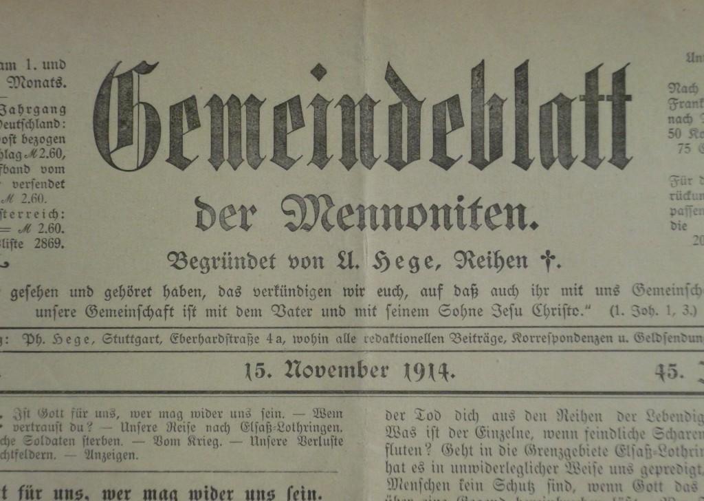 Gemeindeblatt der Mennoniten Titelblatt November 1914