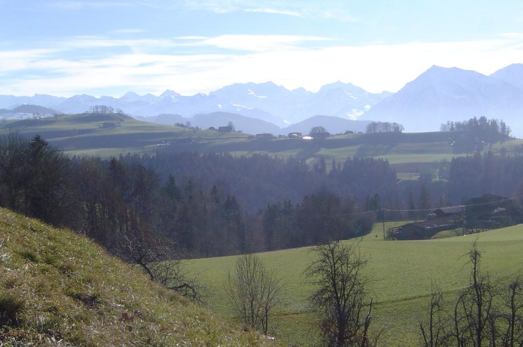 Blick von Bleiken auf die Lueg (Kirchhöri Steffisburg), im HIntergrund die Berner Alpen