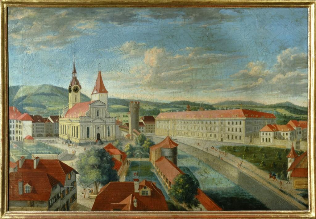 Blick von Norden auf die Stadt Bern. Der Dittlinger Turm in der Bildmitte rechts neben der Heiliggeistkirche war seit dem 16. Jahrhundert ein Gefängnis. Seine Grundrisse sind beim Neubau des Bahnhofplatzes 2007 neu ausgegraben worden. (Gemälde von Joh. Grimm um 1740)