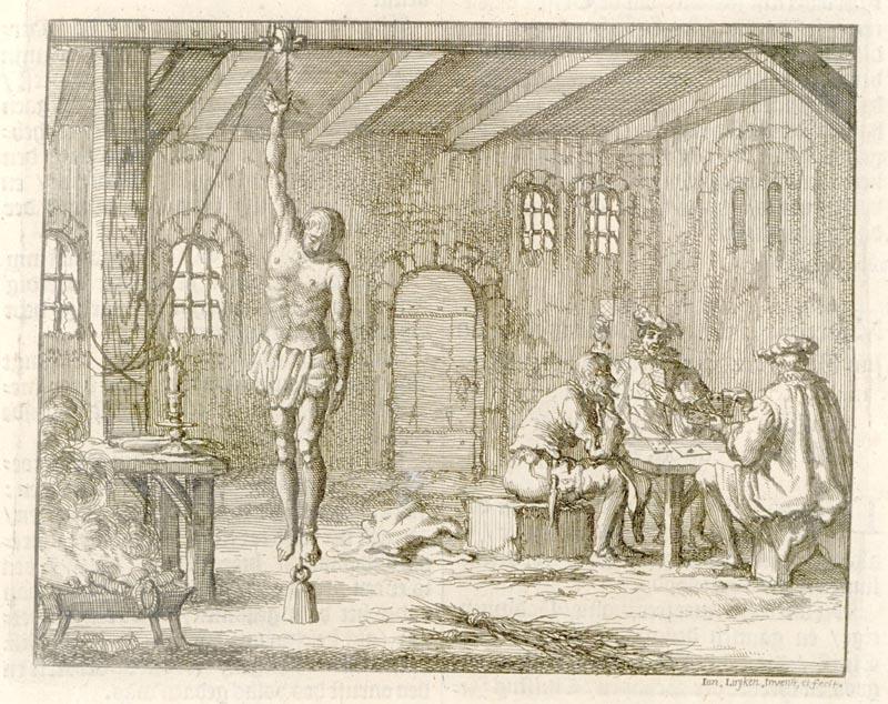 Folterung des Täufers Geleijn Cornelis in Breda/NL um 1572 (Stich von Jan Luyken aus dem Märtyrer-Spiegel von 1685)
