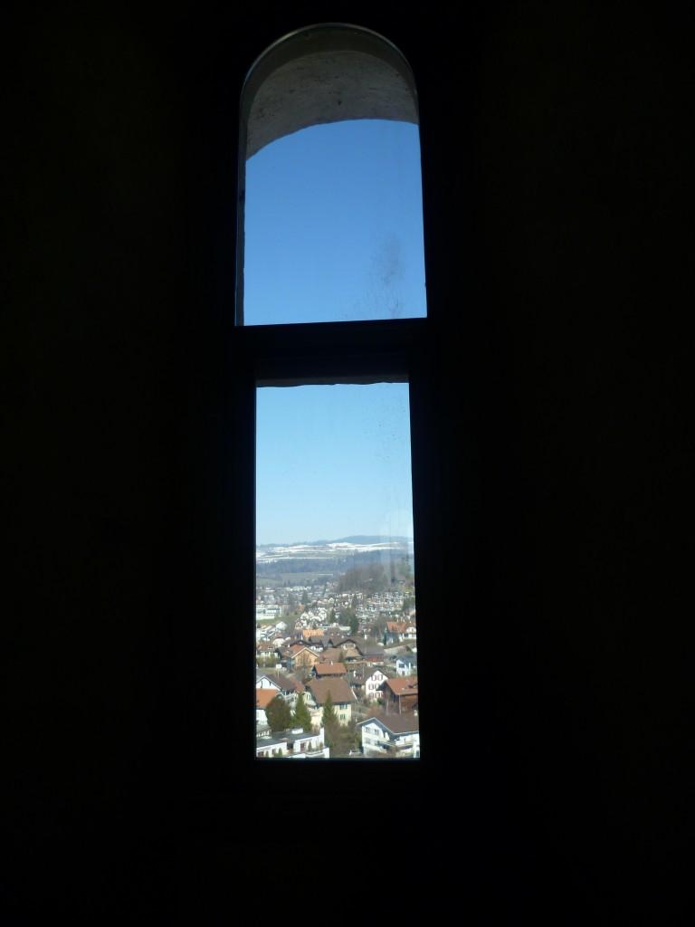 Blick vom Schloss Thun in Richtung Langenegg, Kerngebiet des Täufertums im Hinterland der Kirchgemeinde Steffisburg