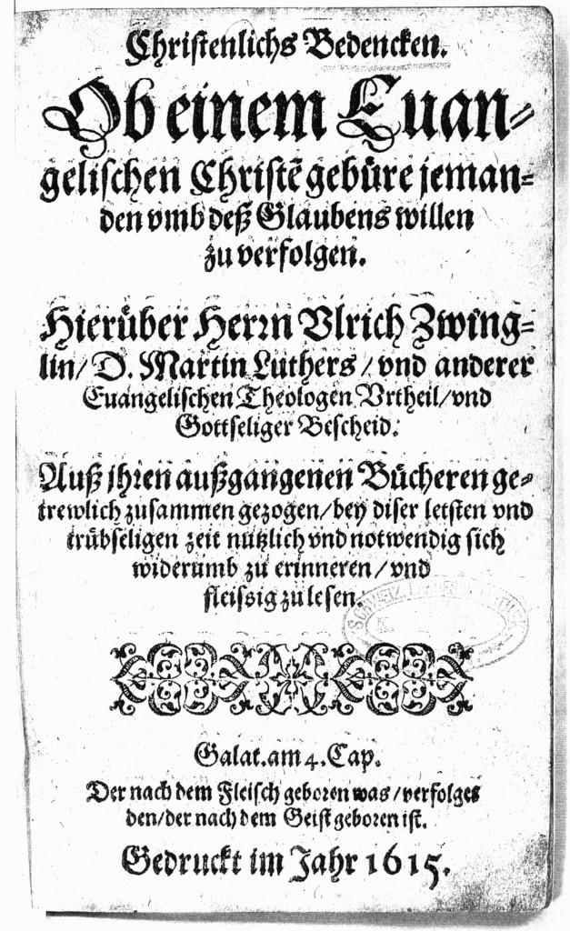 Eines der der seltenen Exemplare der Schrift von Hans Jakob Boll befindet sich in der Schweizerischen Landesbibliothek in Bern unter der Signatur L Theol. 789 - 14