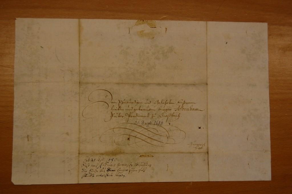 """Eines der Dokumente zum """"Güngerichischen Teüfferguth"""", ein Brief von Pfarrer Abraham Fueter von 1680 (Kirchgemeindearchiv Ober-Diessbach)"""