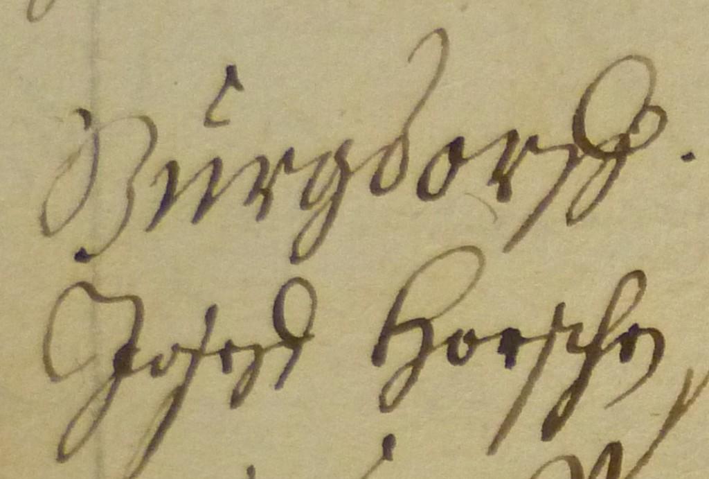 Ein Protokolleintrag von 1705 bringt einen Joseph Horsch in Verbindung mit dem bernischen Burgdorf!