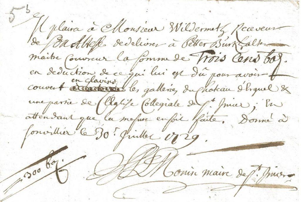 Beleg über Dachdeckerarbeiten am Schloss Erguel und an der Stiftskirche von St.Imier durch Peter Burkhalter (AAEB, Comptes de Bienne et Erguel 1729-1730